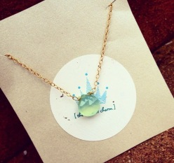Aqua Chalcedony Teardrop Pendant Necklace