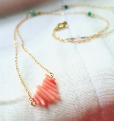 Organic Coral Beaded Bar Necklace