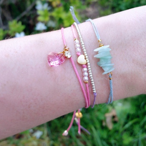 Beaded, Bar and Charm Cord Stacking Bracelets